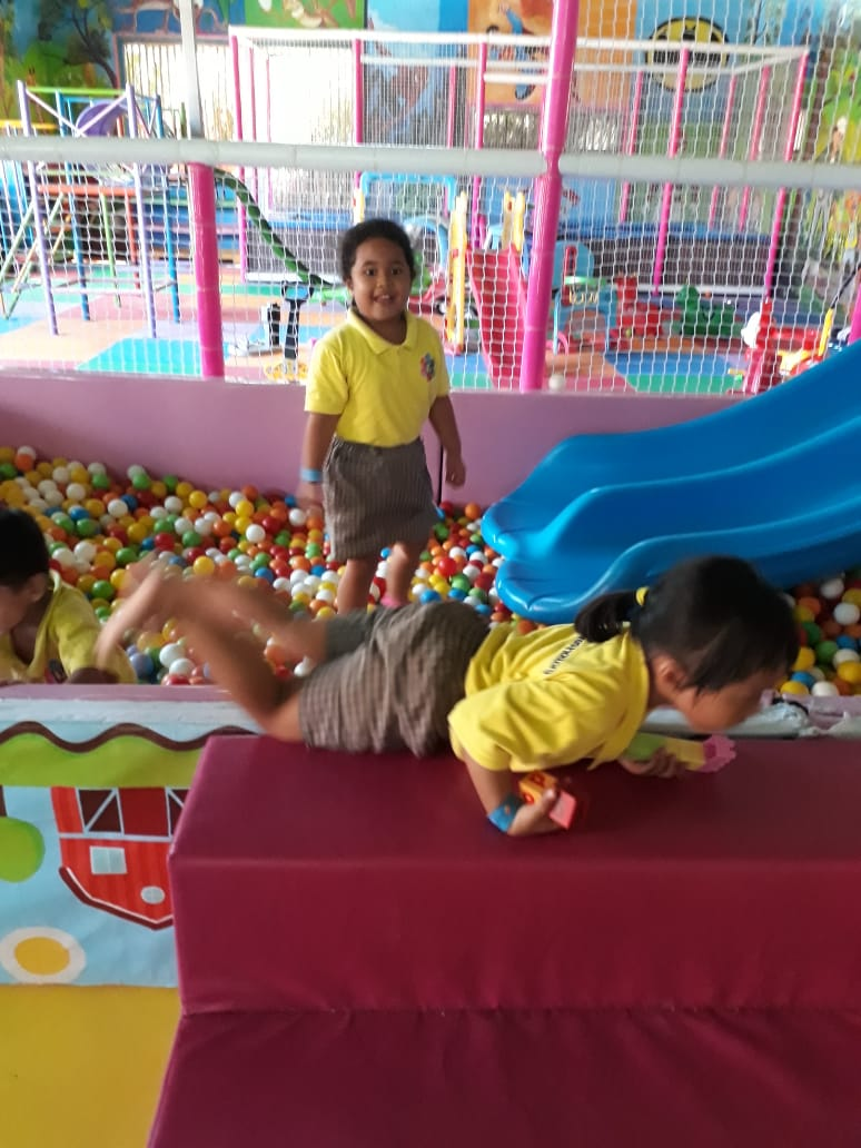 playing in the ball pit
